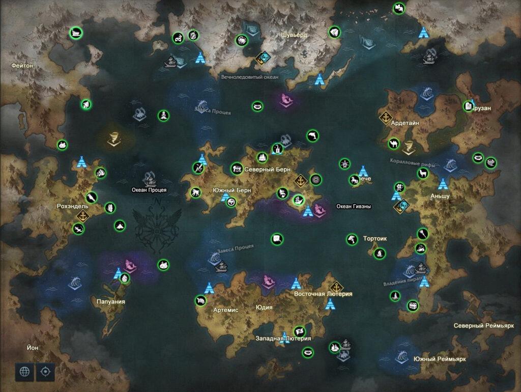 все морские приключения на карте Лост Арк
